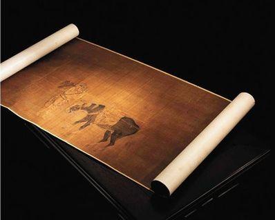 宋人摹郭忠恕四猎骑图 手卷 绢本 39.5×192cm